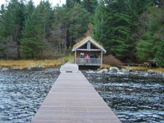 Corrour Lodge jetty and boat house