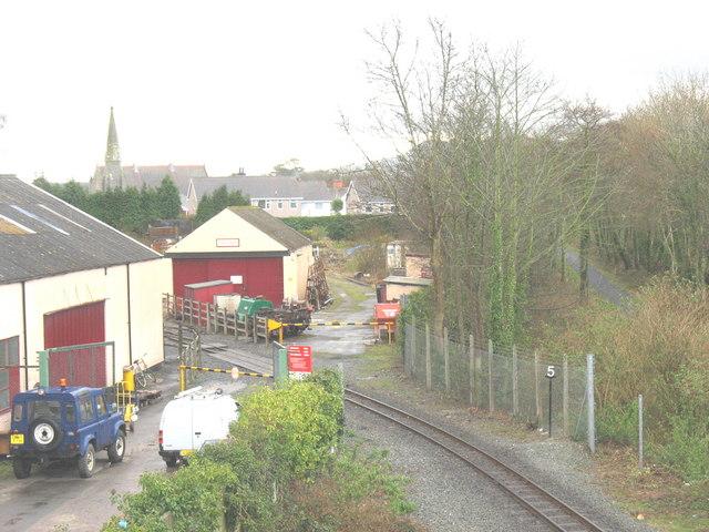 Welsh Highland Railway workshops from the road bridge