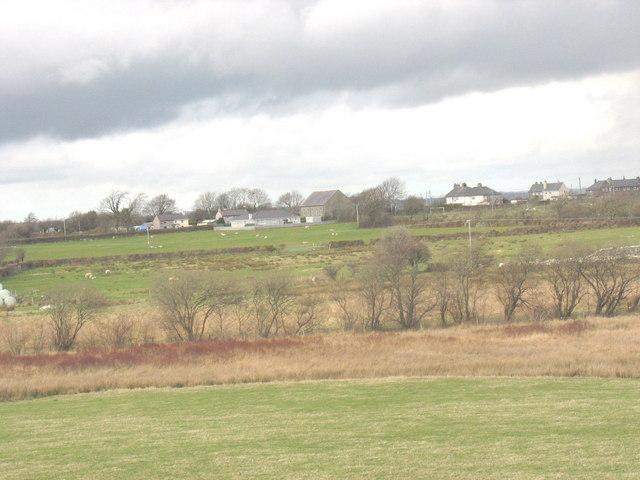 View across an open, marshy, valley towards the hamlet of Saron