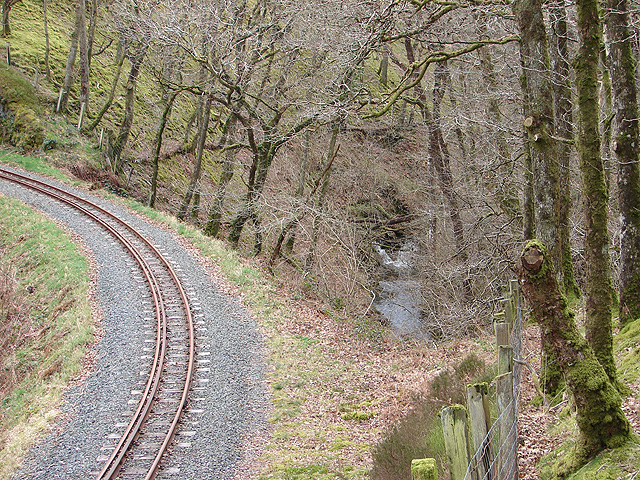 The Vale of Rheidol Railway crossing Nant-y-fawnog
