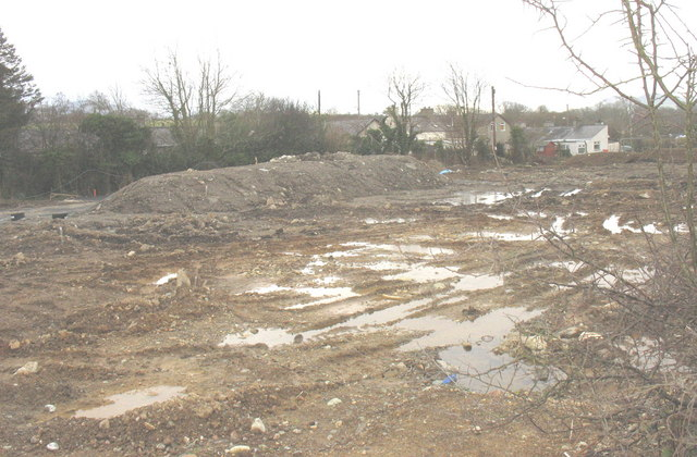 Construction site for an estate of bungalows at Bethesda Bach crossroads