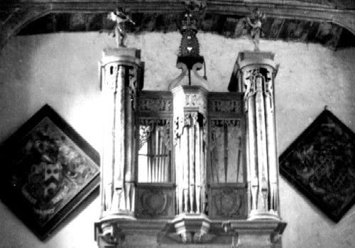 Detail of organ and hatchments