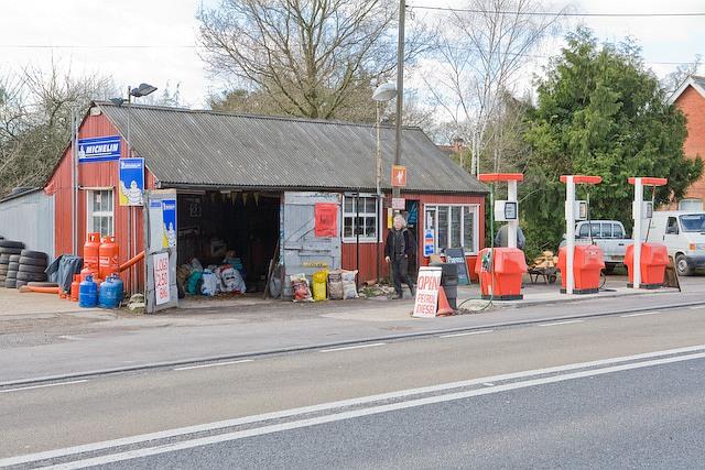Quaint garage and Burmah Petrol Station, near Canada Corner, West Wellow