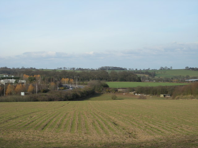 Across the field to the A464