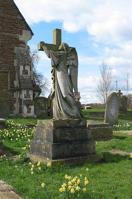 Cross and angel headstone, St. Anne's, Oxenhall