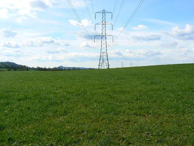 Power lines, near Worthy Farm, Somerset