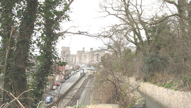 Caernarfon Welsh Highland Railway Station from Love Lane