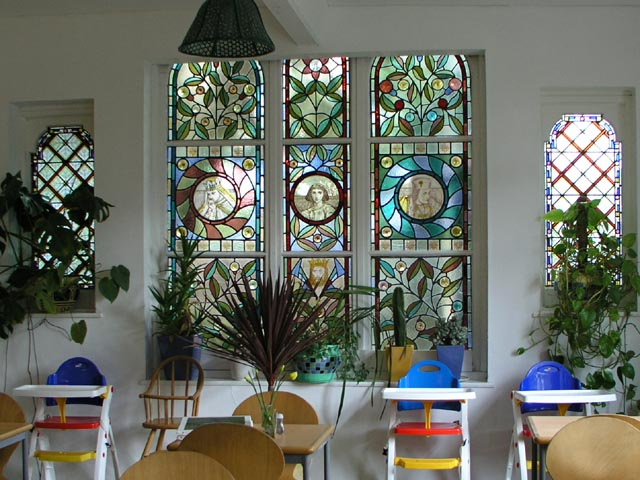 Stained-glass-window in Oak Hall Manor