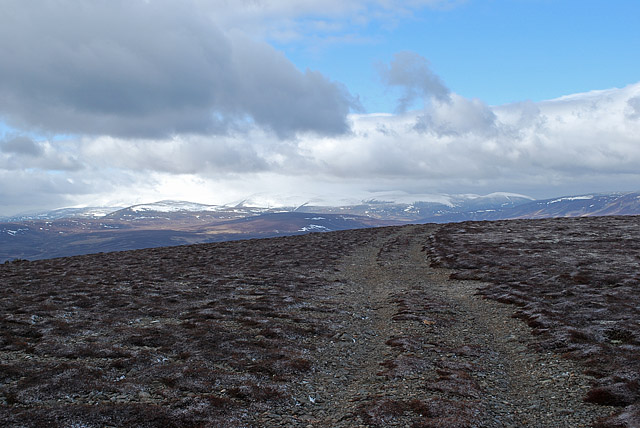Track at the summit of Geallaig Hill