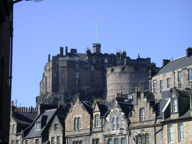 Looking up to Edinburgh Castle