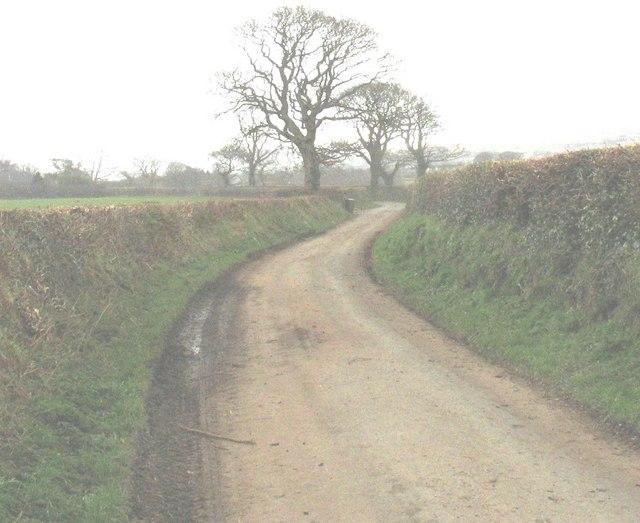 Twisting country lane NE of Min Awel