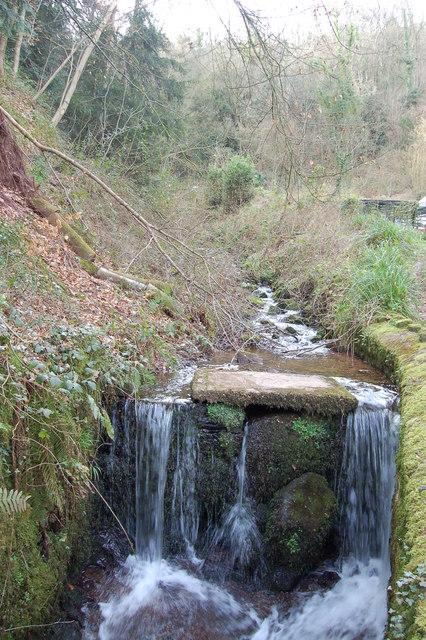 Man-made waterfall at Llandogo