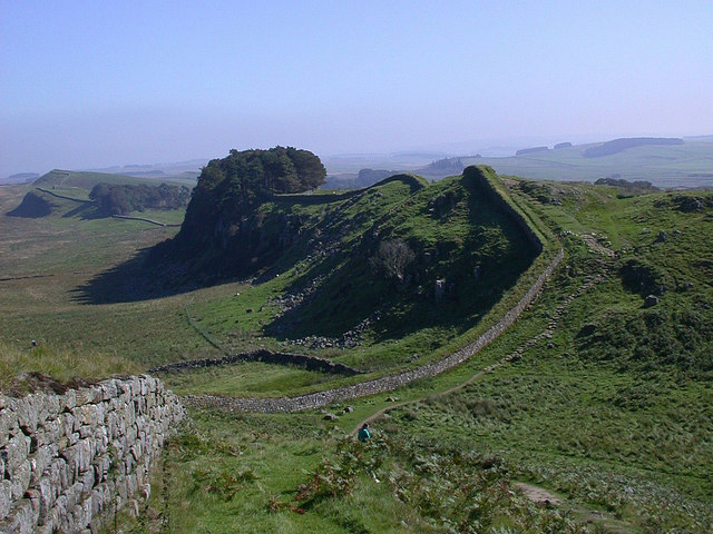 Hadrian's wall at Cuddy's Crags and Housesteads Crags, September