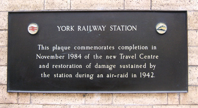 Plaque near the Booking Hall, York Railway Station