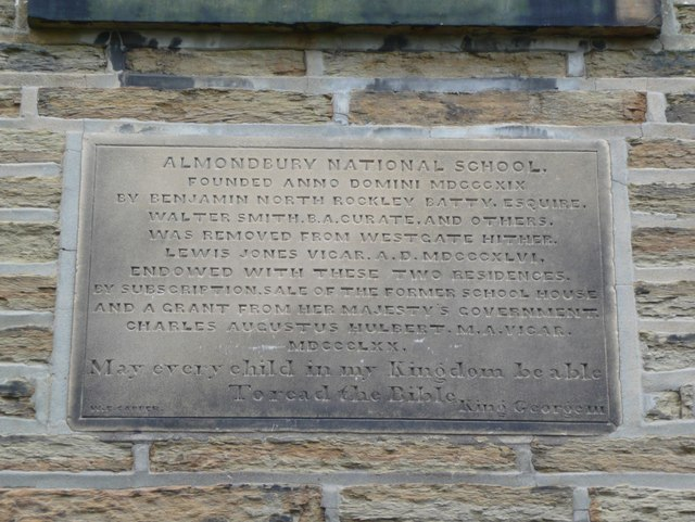 Plaque on former National School, Stocks Walk, Almondbury
