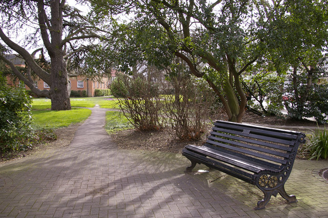 Bench and pathway leading to Library Green, Enfield