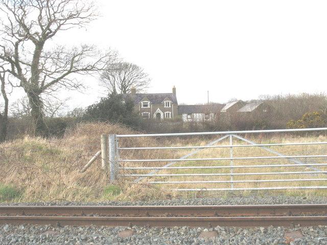 Cae Moel seen across the Welsh Highland Railway track