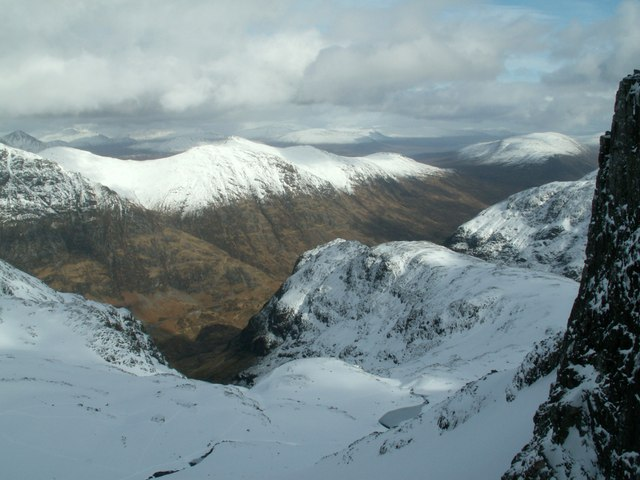 Coire nan Lochan looking down to the Pass of Glencoe