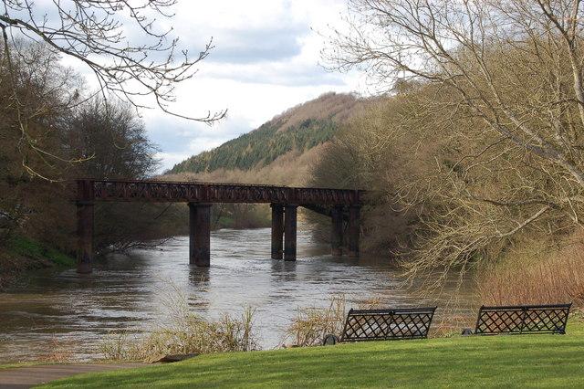 Old railway bridge over river Wye at Redbrook