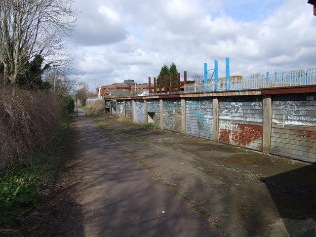Derelict garage block