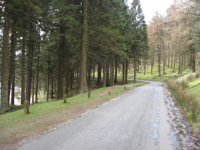 Howden Reservoir - View of road heading away from the Royal Oak Tree