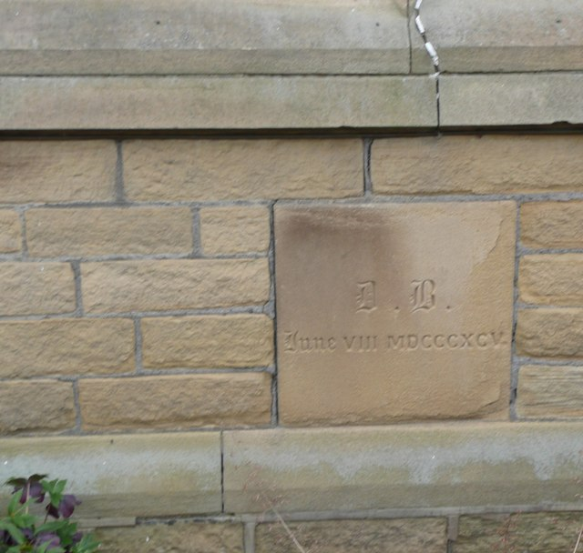 Foundation stone on former church school, Stocks Walk, Almondbury