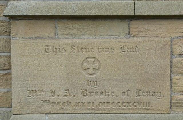 Foundation stone on former church school, Stocks Walk, Almondbury