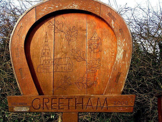 Greetham village sign, designed by a local schoolgirl