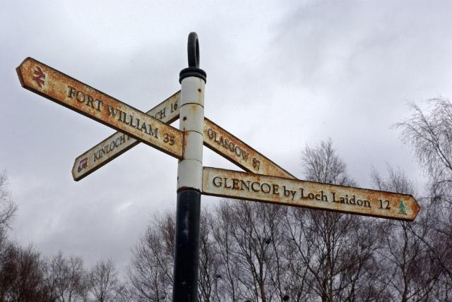 Signpost at Rannoch Station