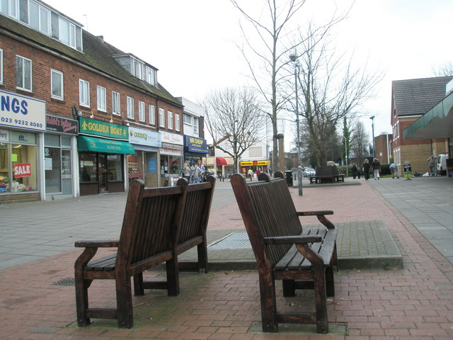 Back to back seats at western end of Portchester Precinct