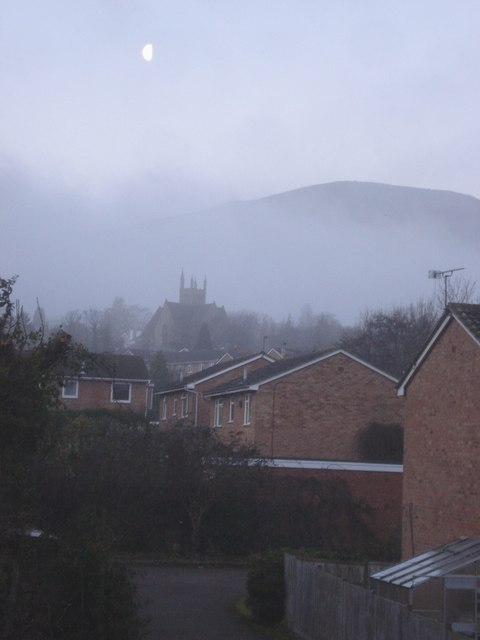 Early morning mist over Great Malvern