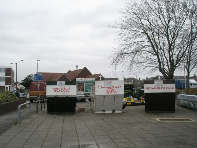 Recycling facilities in the Methodist Church car park, Portchester