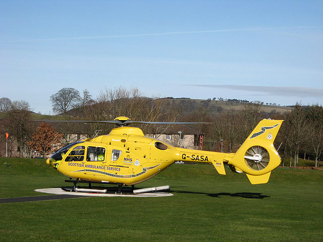 A Scottish Ambulance Service helicopter at Borders General Hospital