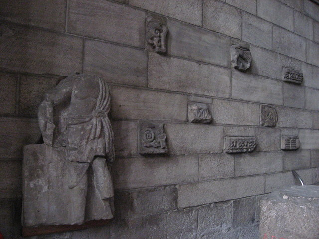 Anglo-Saxon carved stones set in the west wall of Hexham Abbey