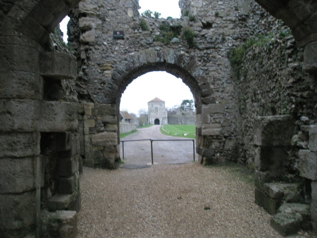 Looking from the Watergate to the Landgate at Portchester Castle
