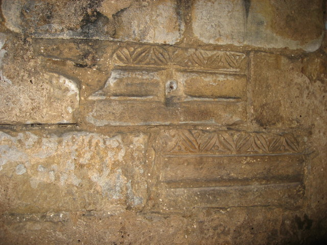 The 7th C Crypt, Hexham Abbey - Roman olive leaf and berry cornice
