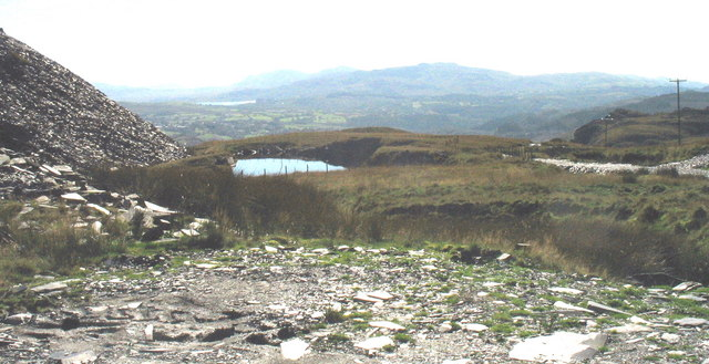 The flooded Votty-Bowydd pit now used as a quarry reservoir