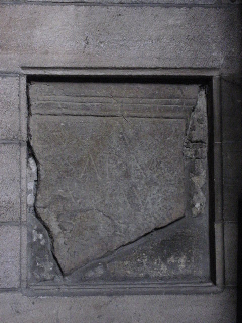 Roman stone in niche 1 on the north wall of the Aisle, Hexham Abbey
