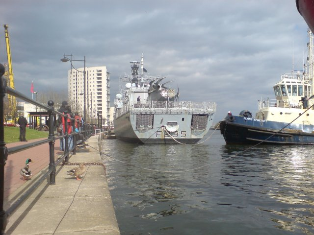HMS Monmouth leaves the dock