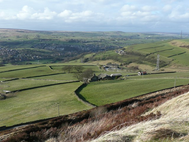 View of farms and fields from Royd Height, Rishworth
