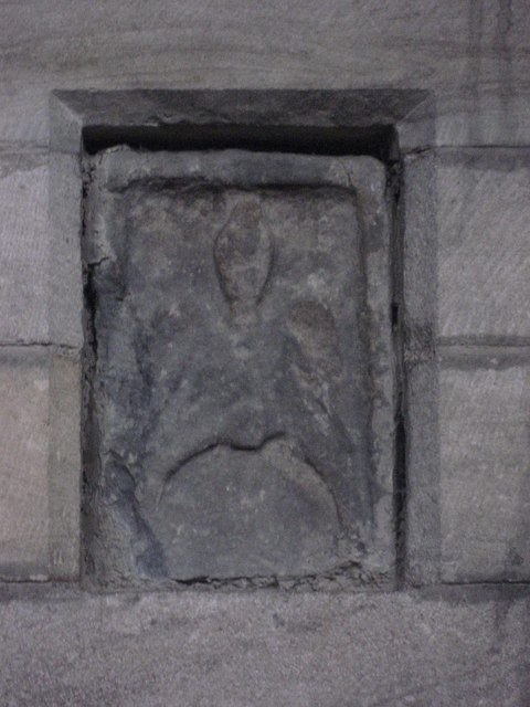 Ancient stone in niche 4 on the north wall of the Aisle, Hexham Abbey