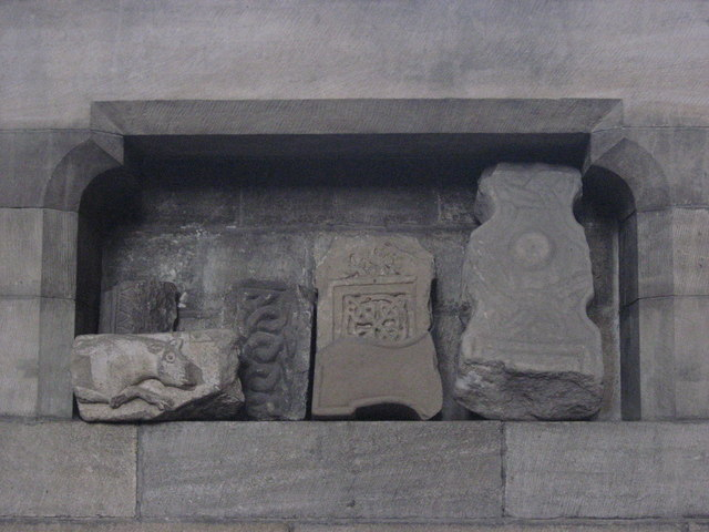 Ancient stones in niche 9 on the north wall of the Aisle, Hexham Abbey