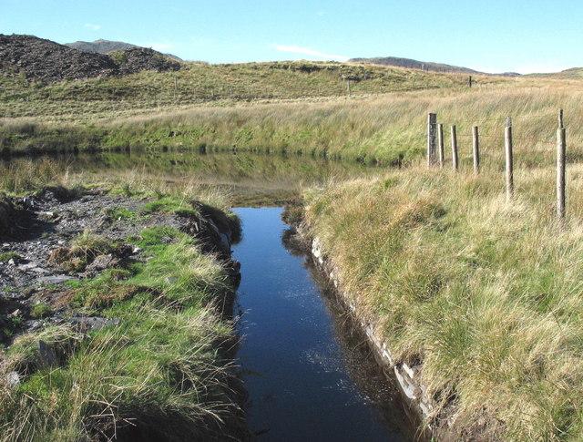 Leat from Llyn Barlwyd entering the Llechwedd reservoir