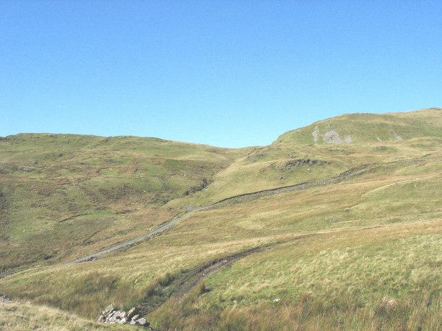 Track from Llechwedd Quarry to Llynnau Barlwyd