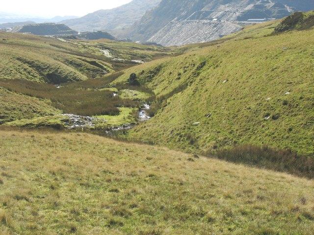 Interlocking spurs in the Afon Barlwyd valley