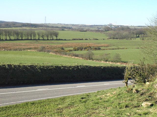 Fields beside the A395