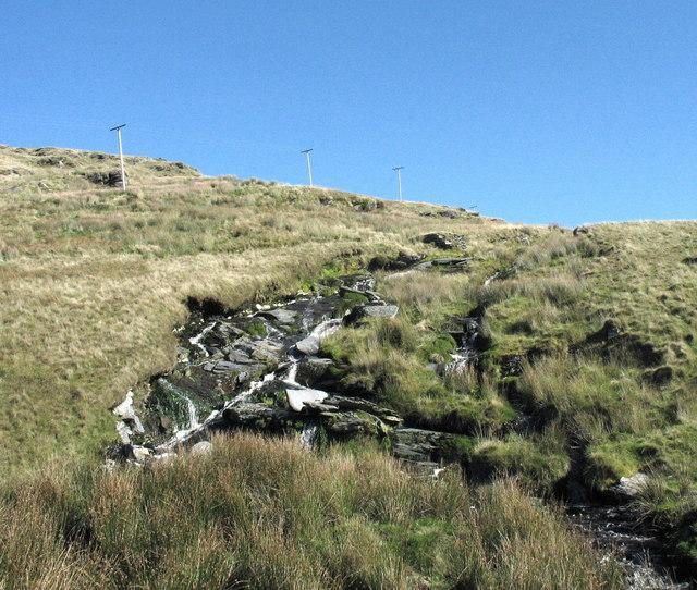 Leated water from Llynnau Bowydd and Newydd descending towards the old Llechwedd Electricity station