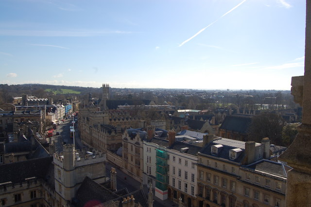 Oxford: High Street viewed from tower of St Mary's church