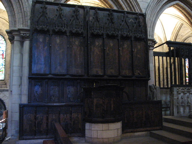 15th C lectern and screen, and former reredos, Hexham Abbey