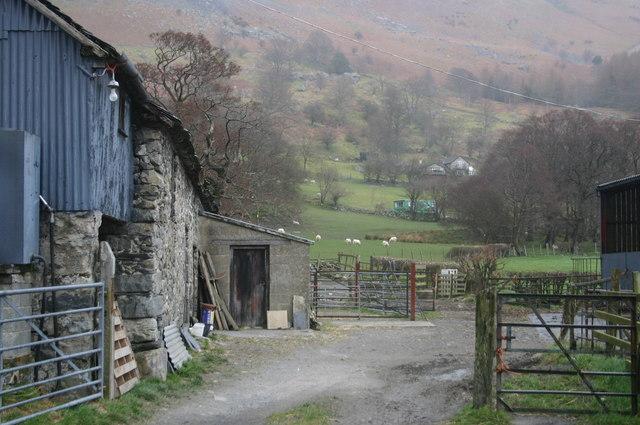 Footpath through farmyard